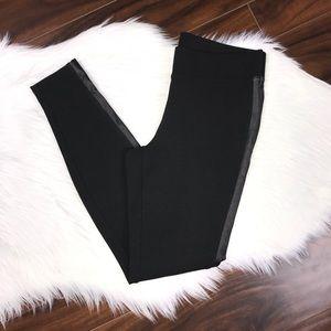WHBM Side Stripe Black Legging Faux Leather